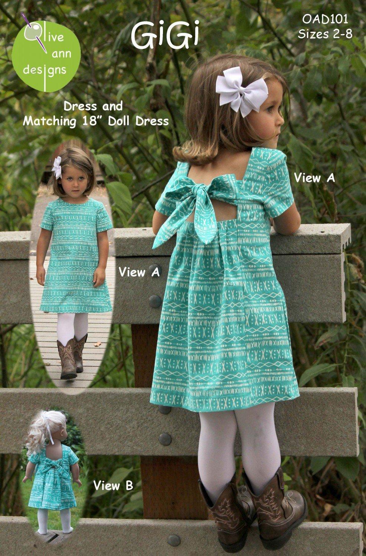 GiGi Dress & Matching 18 Doll Dress Pattern