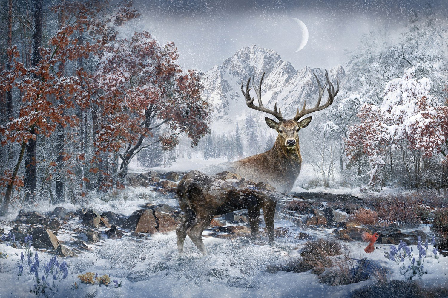 Call Of The Wild December Stag Panel 29 x 43
