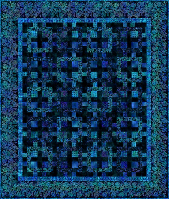 Tapestry Quilt Kit 79in by 93in - Mystic Blue