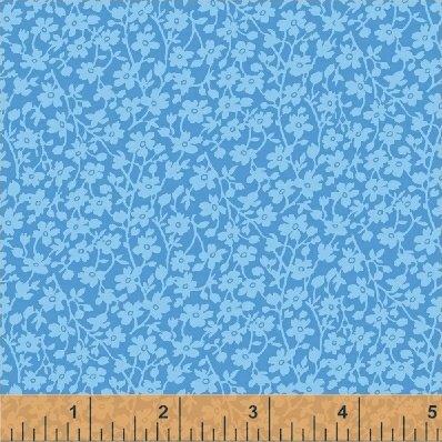 108 Quilt BackMono Floral Blue