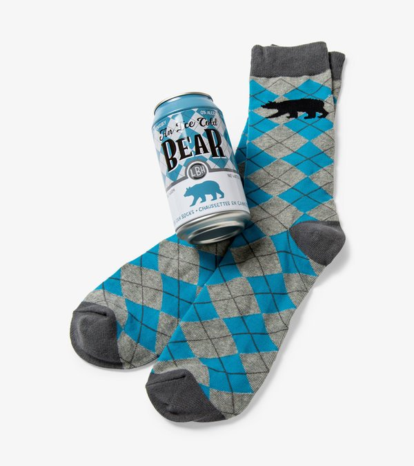 Ice Cold Bear Beer Can Socks
