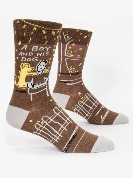 Men's Socks:  A boy and his dog