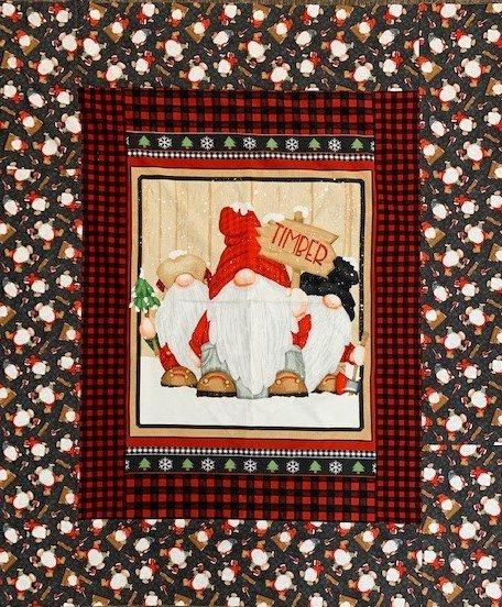 Gnomies Flannel Panel Quilt 48x58