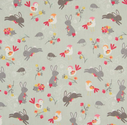 KC0470-022 Cotton Poplin - Spring Animals (21B)