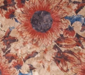 #1000 Cork Fabric 18x15 Red Sunflower