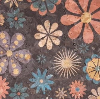 #1006 Cork Fabric 18x15 Whimsey Flowers