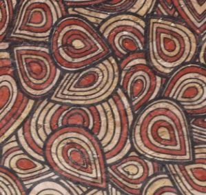 #1011 Cork Fabric 18x15  Red Tear Drop