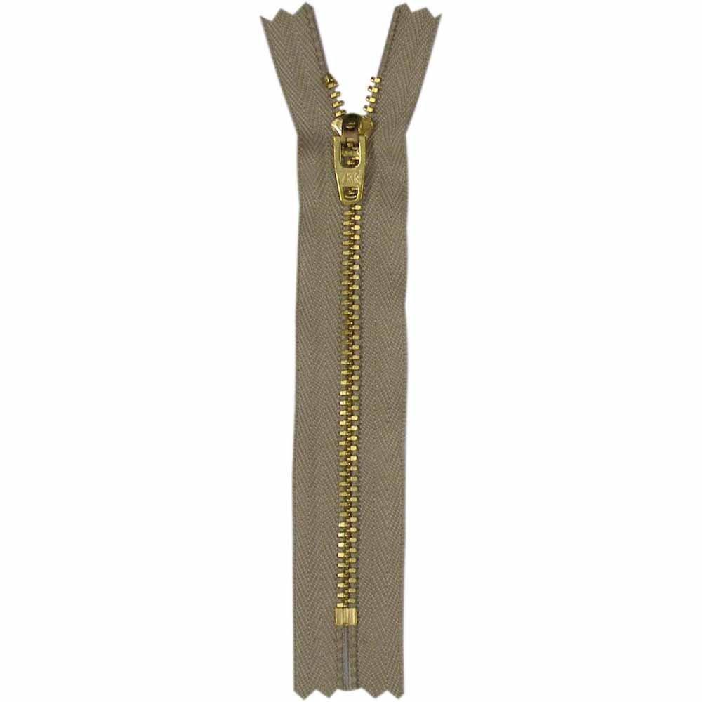 1712 - 18 cm Denim Closed End - Light Beige #573 w/ Gold Teeth