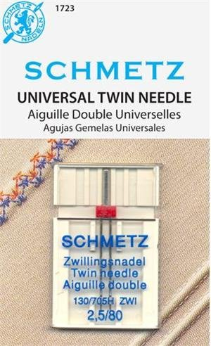 SCHMETZ #1723 Twin Needle Carded - 80/12 - 2.5mm - 1 count