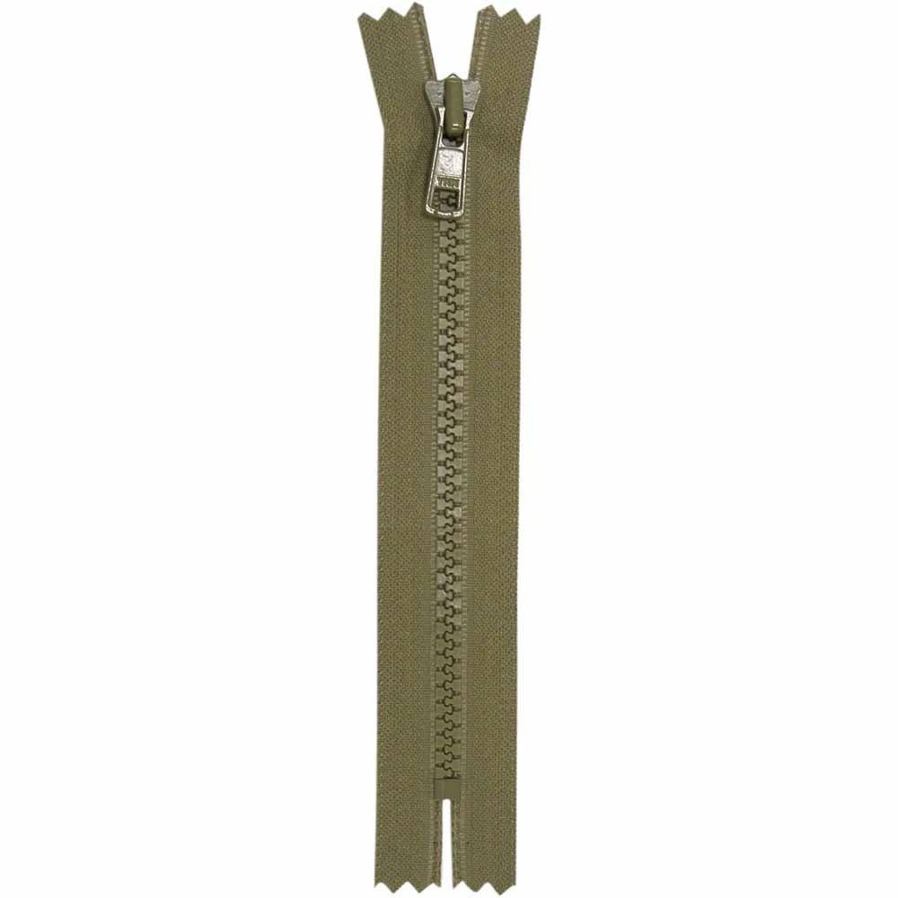 Closed End Khaki Activewear Zipper - 18 cm/7