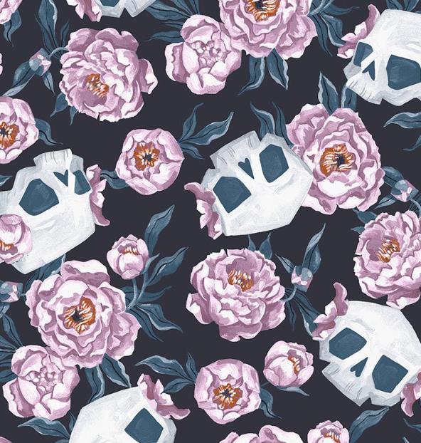 SRR1822 - Skull Toil & Trouble Floral - GRAPHITE (21D)