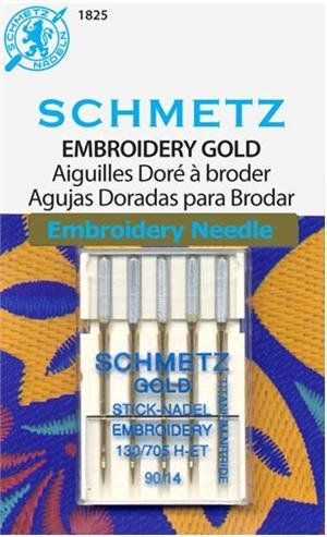 SCHMETZ #1825 Gold Titanium Embroidery Needles Carded - 90/14 - 5 count
