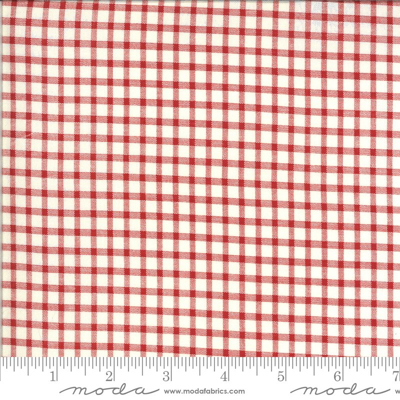 514918-16 Roselyn Gingham Ivory - Red (21C)