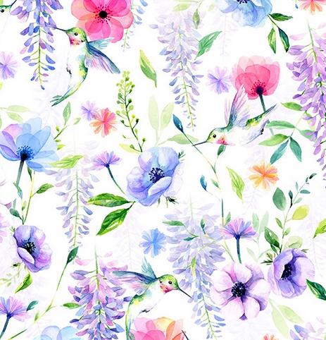 24812-295 Wisteria & Hummingbird Digital Print (21B)