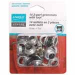 2-Part Grommets with Tool - 8mm (5/16) - Gunmetal - 14pcs