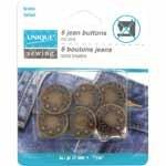 UNIQUE SEWING Jean Buttons No Sewing - Antique Brass - 6pcs. - 17mm