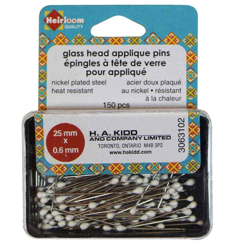 Glass Head Applique Pins - 25 x 0.6mm - 150pcs