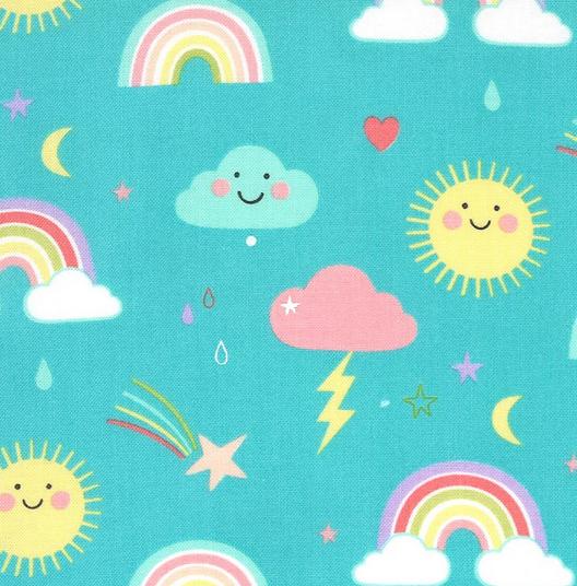 35350 16 Hello Sunshine Rainbows- Aqua (21E)