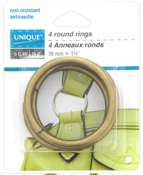 UNIQUE SEWING Round Rings - 38mm (1.5) - Antique Gold - 4 pcs.