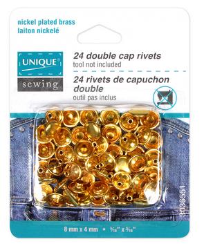 UNIQUE SEWING Double Cap Rivets - Gold - 8mm x 4mm (5/16x 3/16) - 24 pcs