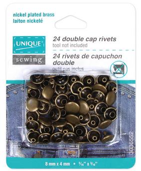 UNIQUE SEWING Double Cap Rivets - Antique Gold - 8mm x 4mm (5/16' x 3/16') - 24 pcs