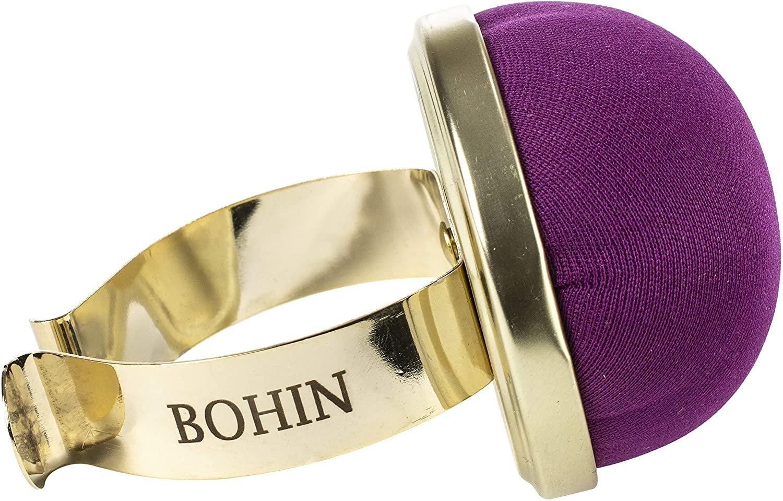 Bohin Wrist Pincushion with Gilded Bracelet -Purple