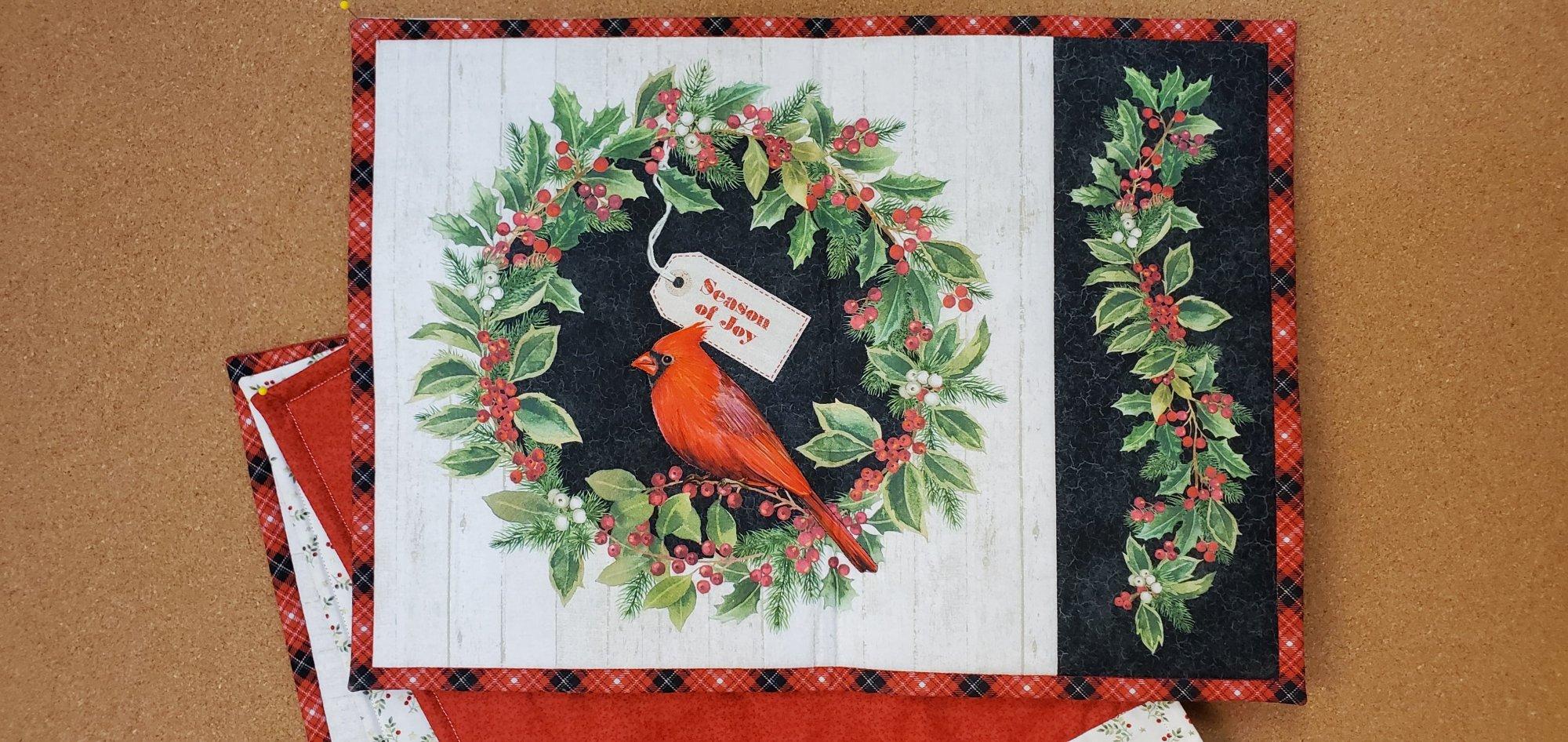 Christmas Cardinal Placemats - 4 pce