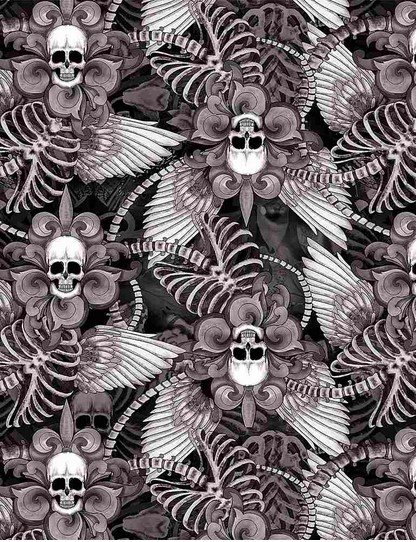 C8708- Black Last Dance Skull/Fleur De Lis Wings(21H)