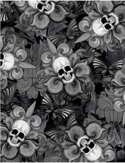 C8709- Black Last Dance Skull/Fleur De Lis (21H)