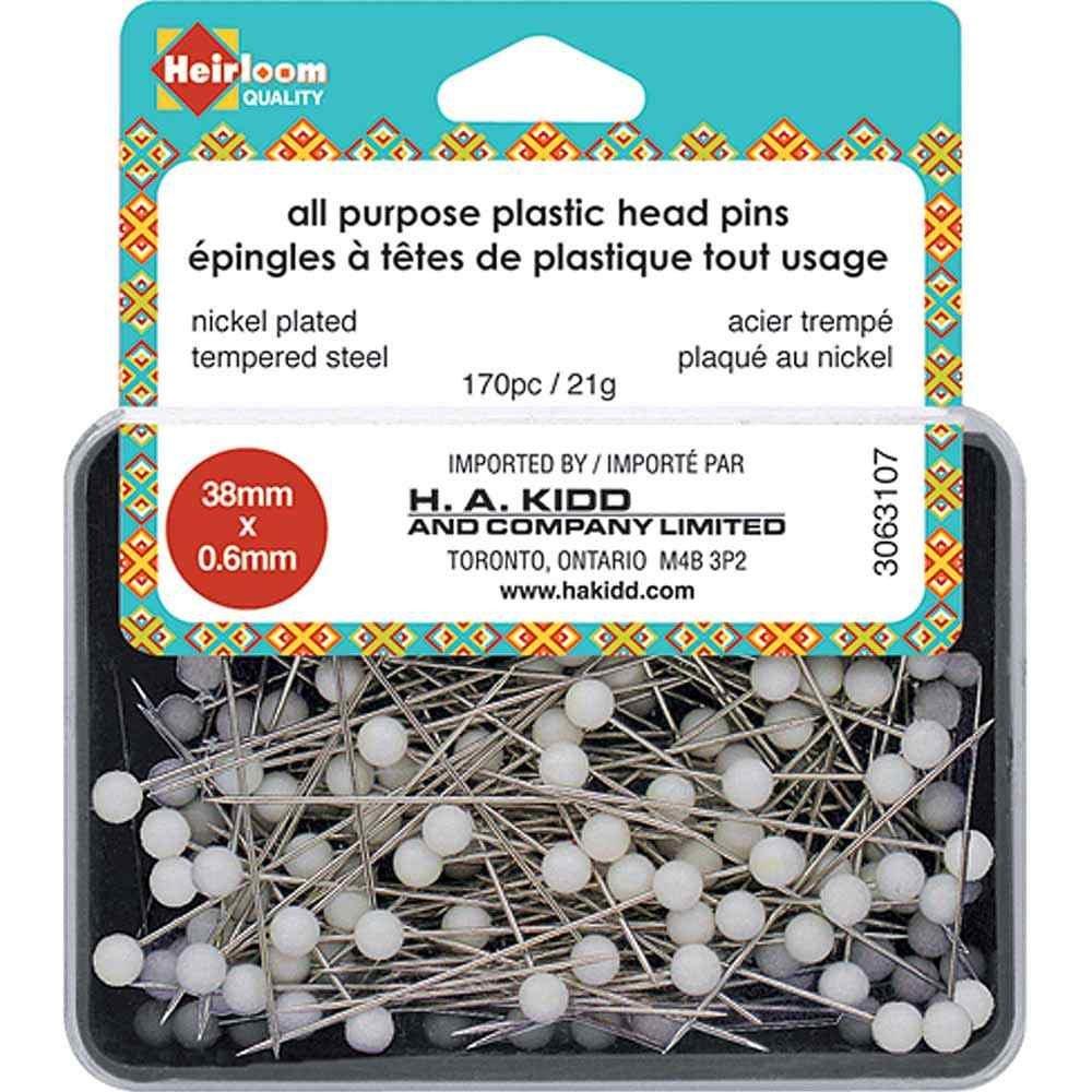 Heirloom All Purpose Plastic Head Pins 38mm