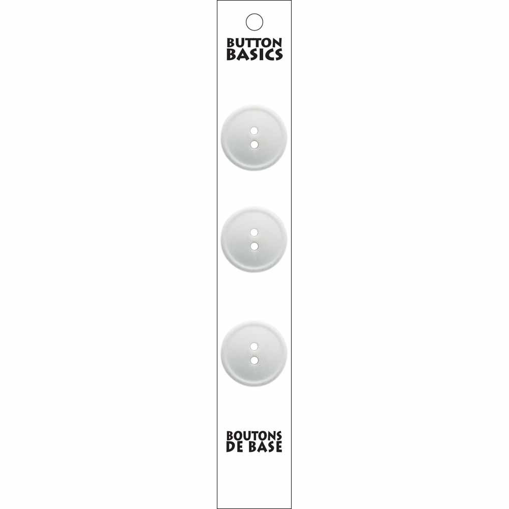 3 - 2 Hole - White Buttons - 19mm