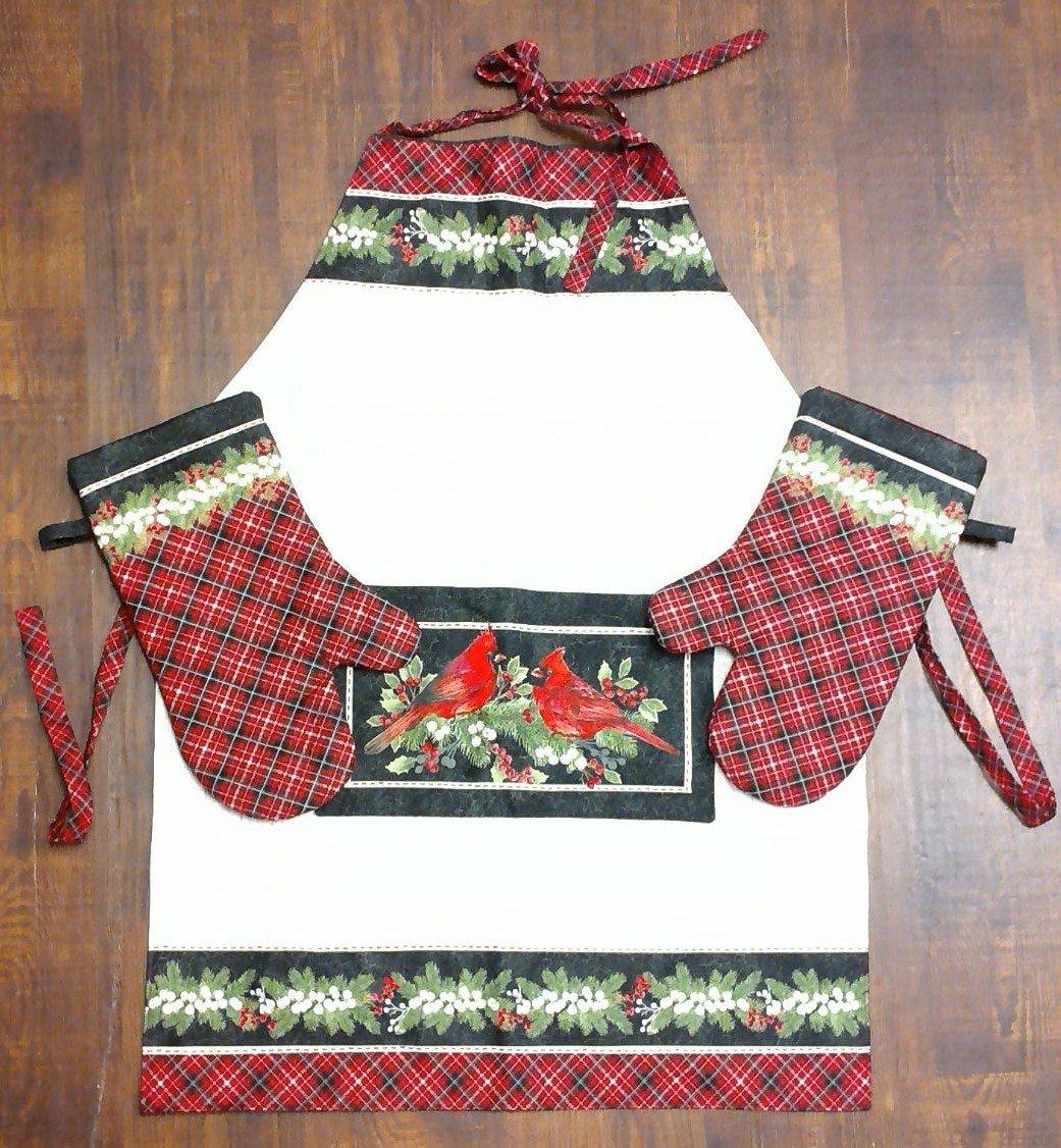 Christmas Cardinal Apron & Oven Mitts Set