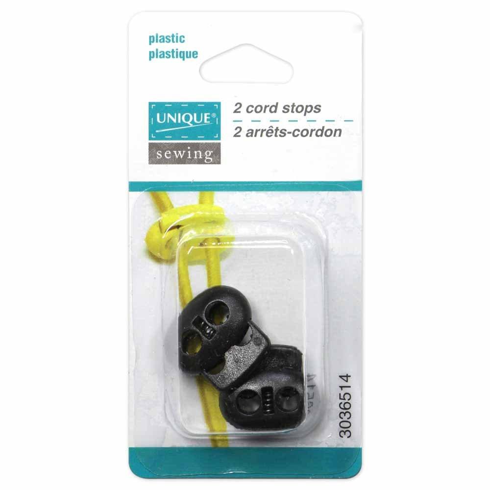 UNIQUE SEWING 2 Hole Cord Stops - Black - 2 pcs