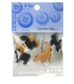 Country Cats 6pc Button