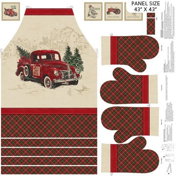 Vintage Christmas - Apron & Mitts Panel