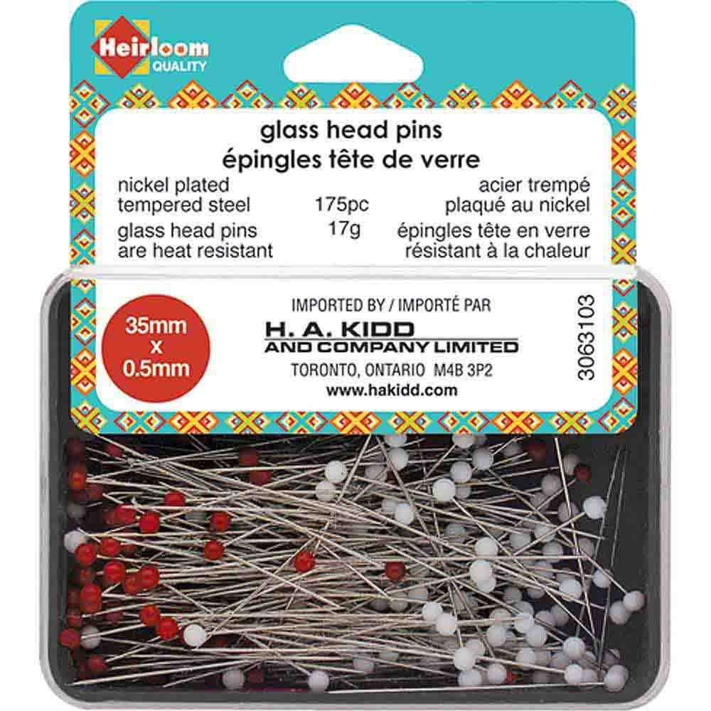 Glass Head Pins 35mm 175 pc