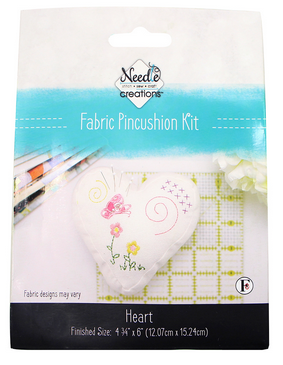 NEEDLE CREATIONS Fabric Pincushion Kit - Heart