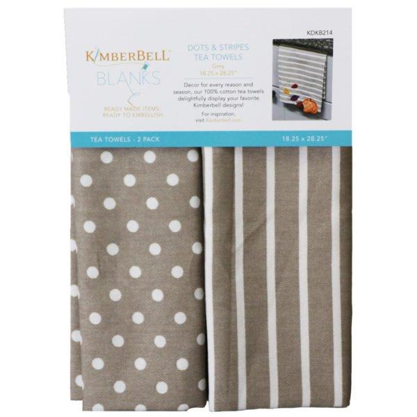 Dots & Stripes Tea Towel Grey