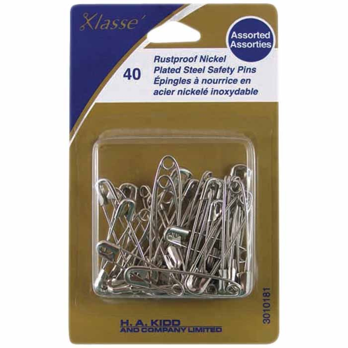 Nickel Plated Steel Safety Pins - Assorted  40pcs