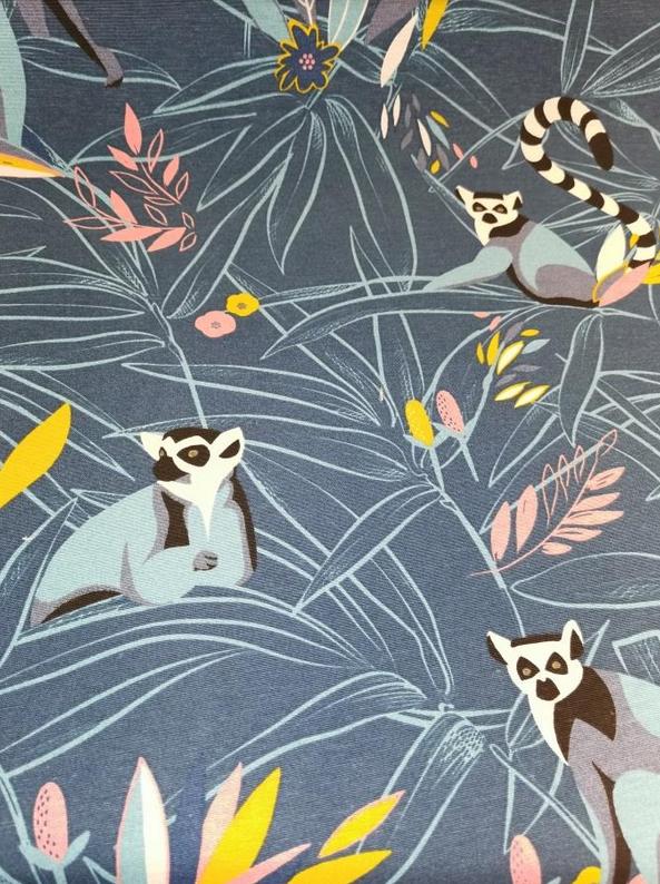 1728.485 Linen Look Lemur on Blue Canvas (21B)