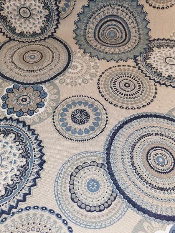 1833.460 Linen Look Blue Mandala Canvas (21B)