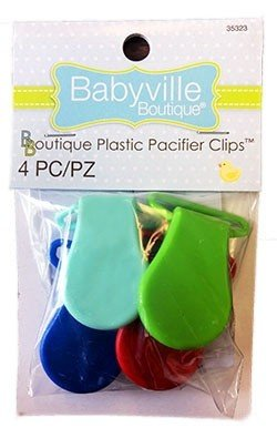 Boutique Plastic Pacifier Clips - Primary