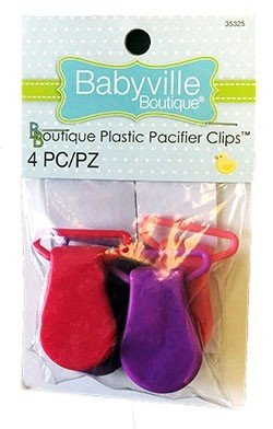 Boutique Plastic Pacifier Clips - Pink/Purple