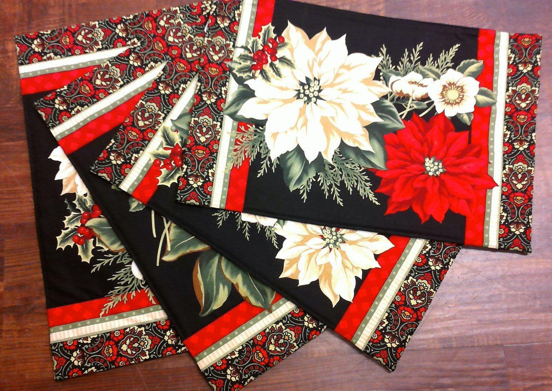 Pointsettia Christmas Placemats - 4 piece
