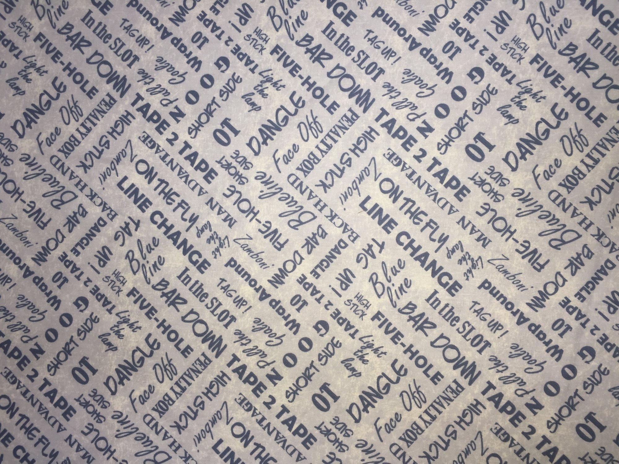 Pond Hockey - Words Quilt Fabric