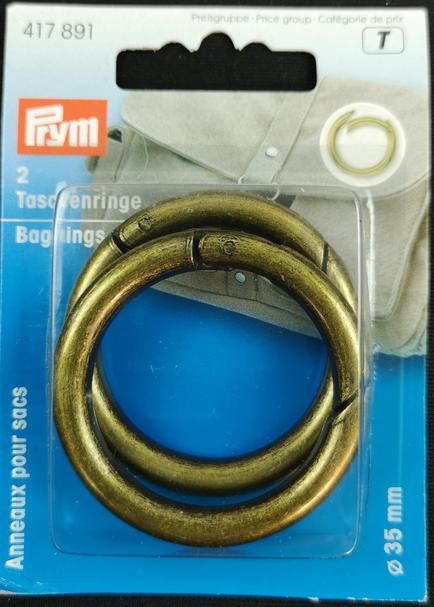 2 Bag Ring Clips - Brass 35 mm 1.35