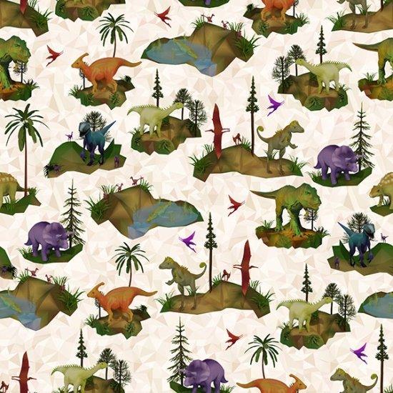 24765-33 Dino Mite Digital Print-Cream (20I)