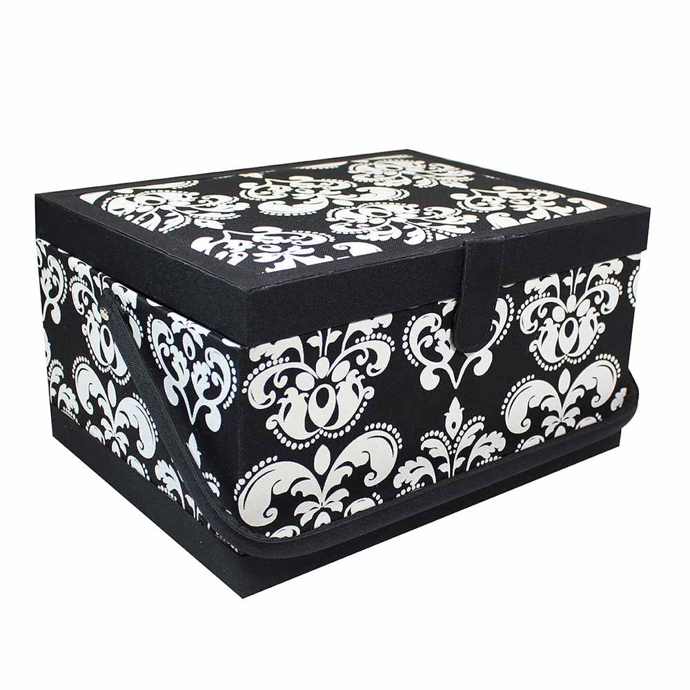 Large Sewing Basket Paisley - Black