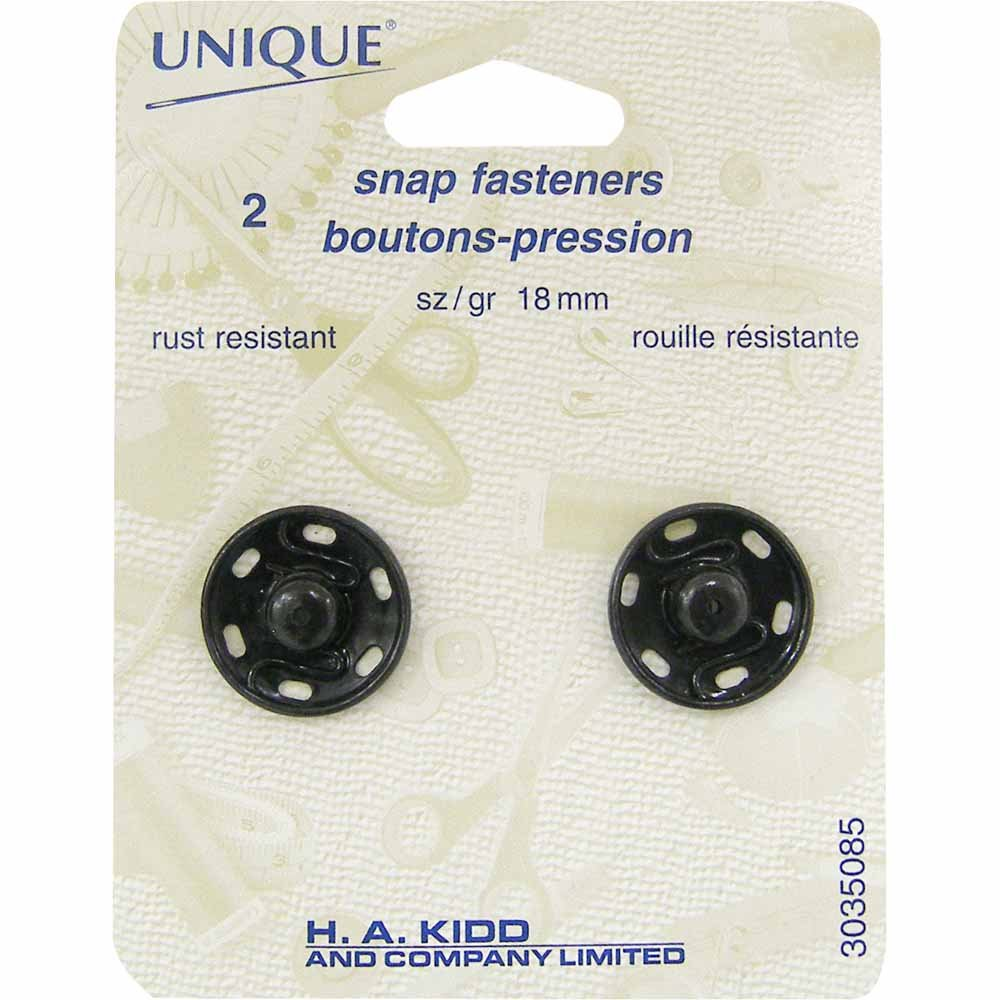 2 Sew-on Snap Fastners - 18mm - Black