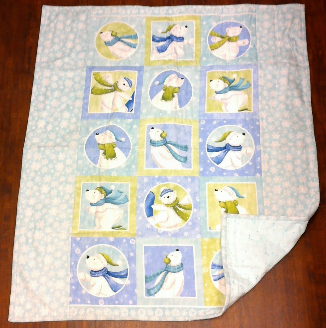 Snow Bear Flannel Baby Quilt